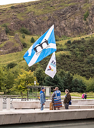 Pictured: <br />There is a joke in here about two Englishmen, a Scotsman and three dogs…..<br />Shaun Jones, Cliffe Serbie, Dean Halliday (Scottish) and his three dogs Fern, Saorsa ands Indy were outside the Scottish Parliament to protest against the UK government in London. <br />Ger Harley | EEm 5 September 2019
