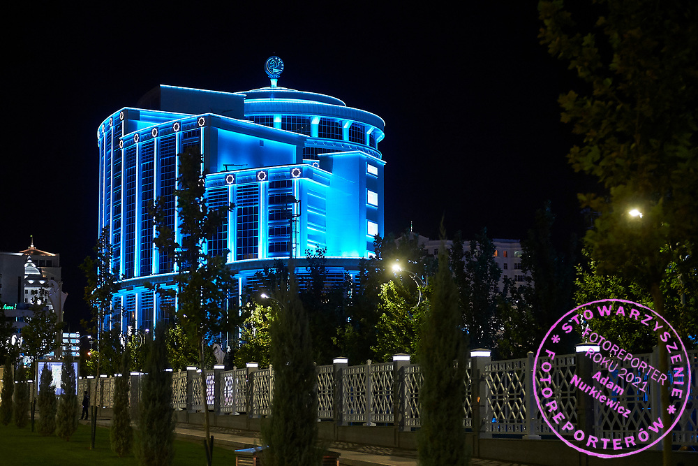 Ashgabat, Turkmenistan - 2017 September 21: Olimpiya VIP Hotel in Ashgabat Olympic Complex while 2017 Ashgabat 5th Asian Indoor & Martial Arts Games on September 21, 2017 in Ashgabat, Turkmenistan.<br /> <br /> Mandatory credit:<br /> Photo by © Adam Nurkiewicz<br /> <br /> Adam Nurkiewicz declares that he has no rights to the image of people at the photographs of his authorship.<br /> <br /> Picture also available in RAW (NEF) or TIFF format on special request.<br /> <br /> Any editorial, commercial or promotional use requires written permission from the author of image.