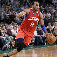 14 May 2012: Philadelphia Sixers small forward Andre Iguodala (9) dribbles during the Philadelphia Sixers 82-81 victory over the Boston Celtics, in Game 2 of the Eastern Conference semifinals playoff series, at the TD Banknorth Garden, Boston, Massachusetts, USA.