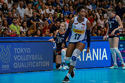 04-08-2019 ITA: FIVB Tokyo Volleyball Qualification 2019 / Netherlands, - Italy Catania<br /> last match pool F in hall Pala Catania between Netherlands - Italy for the Olympic ticket. Italy win 3-0 and take the ticket to the Olympics / Britt Bongaerts #12 of Netherlands, Miryam Fatime Sylla #17 of Italy, Yvon Beliën #3 of Netherlands