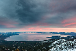 """Sunset at Lake Tahoe 35"" - Photograph of a pink sunset above Lake Tahoe, photographed from near Rose Knob."