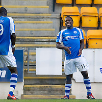 St Johnstone v St Mirren....06.10.12      SPL<br /> Nigel Hasselbaink celebrates his goal with Gregory Tade<br /> Picture by Graeme Hart.<br /> Copyright Perthshire Picture Agency<br /> Tel: 01738 623350  Mobile: 07990 594431