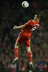 LIVERPOOL, ENGLAND - Tuesday, March 13, 2012: Liverpool's Andy Carroll in action against Everton during the Premiership match at Anfield. (Pic by David Rawcliffe/Propaganda)