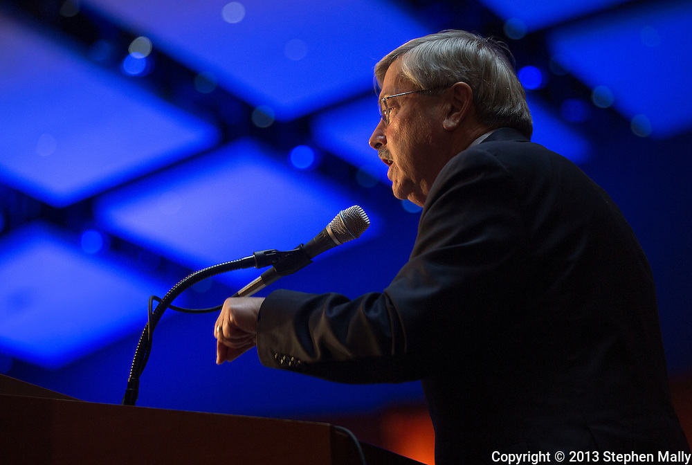 DES MOINES, IA - OCTOBER 25, 2013: Iowa Republican Governor Terry Branstad speaks at the Iowa GOP Ronald Reagan Dinner at the Iowa Events Center - Community Choice Credit Union Convention Center in Des Moines, Iowa.