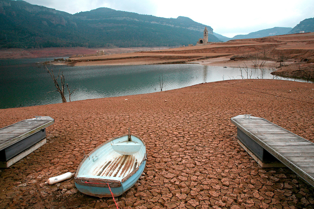 2008. Extreme drought in Catalonia. Land before covered by the water in the marsh of Sau (Osona, Catalonia. Spain)  due to the lack of rain in the last months.