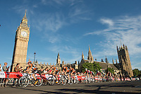 Riders in the Prudential RideLondon-Surrey Classic pass through Parliament Square on their way to the finish on The Mall. Prudential RideLondon is the world's greatest festival of cycling, involving 95,000+ cyclists – from Olympic champions to a free family fun ride - riding in five events over closed roads in London and Surrey over the weekend of 1st and 2nd August 2015.<br /> <br /> Photo: Thomas Lovelock for Prudential RideLondon<br /> <br /> See www.PrudentialRideLondon.co.uk for more.<br /> <br /> For further information: Penny Dain 07799 170433<br /> pennyd@ridelondon.co.uk