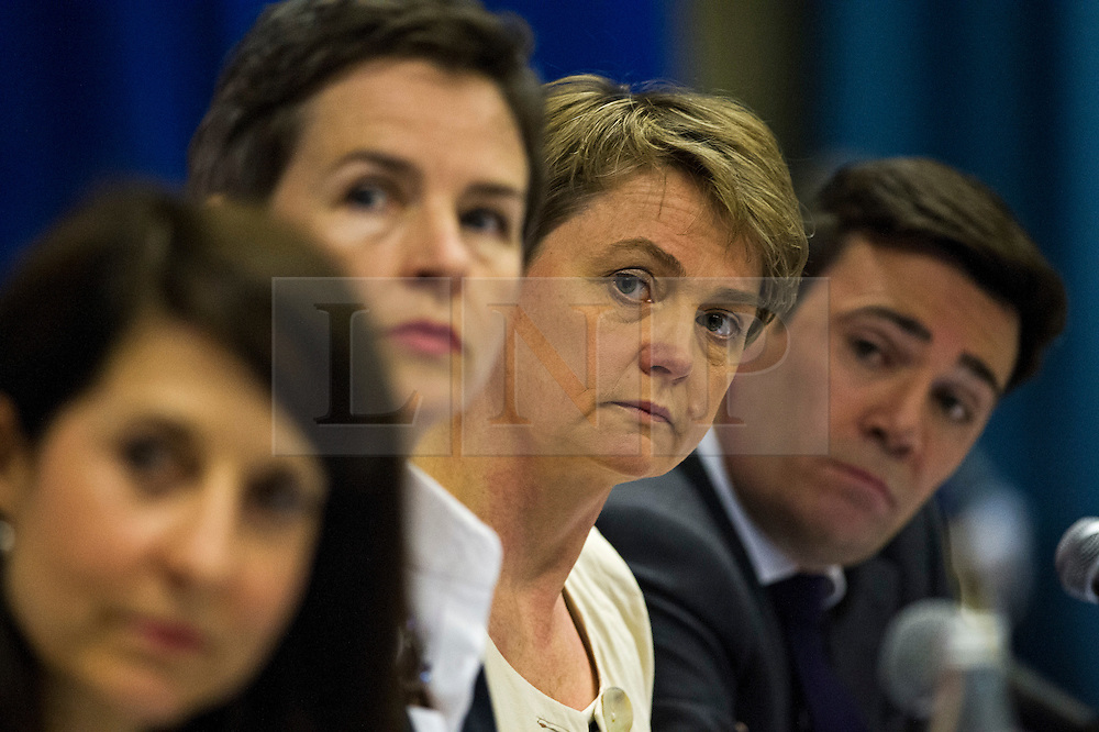 © Licensed to London News Pictures. 06/06/2015. London, UK. L to R Liz Kendall, Mary Creagh, Yvette Cooper and Andy Burnham. Current Labour Leadership candidates attend a debate at the Fabien Society Conference, held at the institute of Education in London. Photo credit: Ben Cawthra/LNP