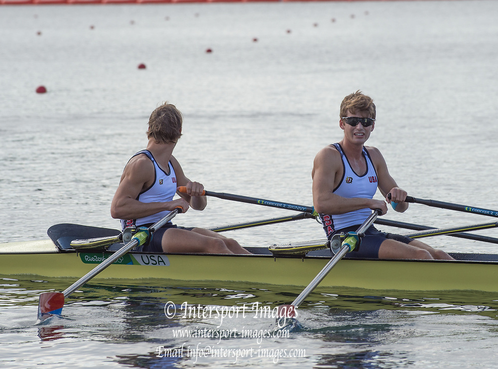 Rio de Janeiro. BRAZIL.  USA LM2X. <br /> Joshua KONIECZNY and Andrew<br /> CAMPBELL JR, 2016 Olympic Rowing Regatta. Lagoa Stadium,<br /> Copacabana,  &ldquo;Olympic Summer Games&rdquo;<br /> Rodrigo de Freitas Lagoon, Lagoa. Local Time 09:20:34  Thursday  11/08/2016 <br /> [Mandatory Credit; Peter SPURRIER/Intersport Images]