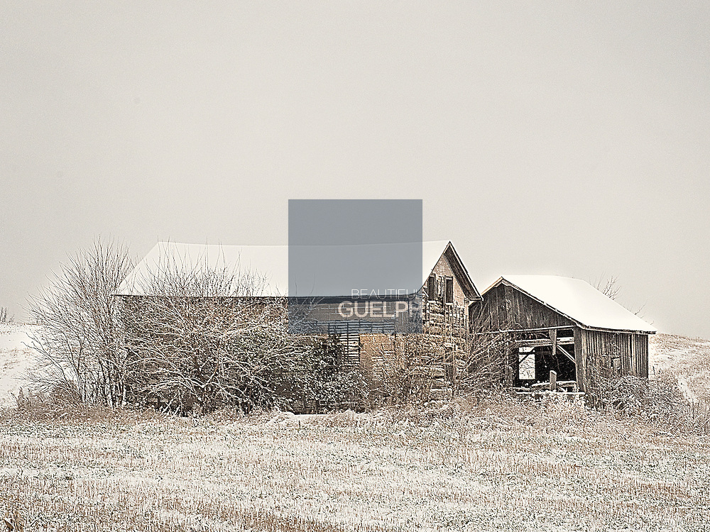 The many historic farms and businesses in the outskirts of Guelph Ontario make for some striking scenery when the snow flies.  Photo by Kurt Brown.