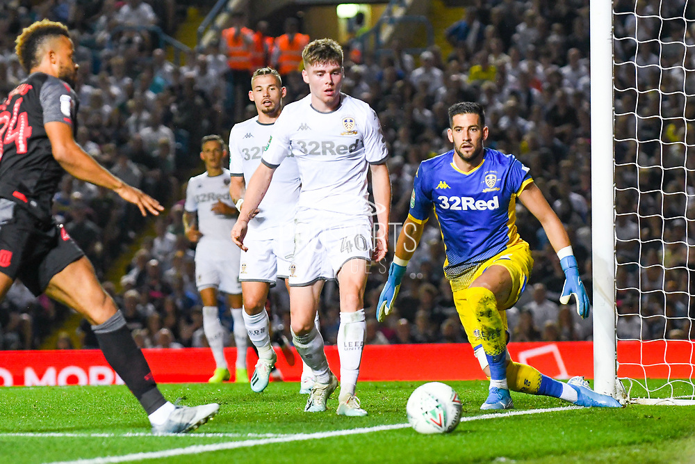 Leeds United defender Leif Davis (40) and Leeds United goalkeeper Francisco Casilla (13) reacts during the EFL Cup match between Leeds United and Stoke City at Elland Road, Leeds, England on 27 August 2019.