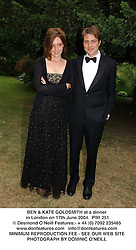 BEN & KATE GOLDSMITH at a dinner in London on 17th June 2004.  PWI 251