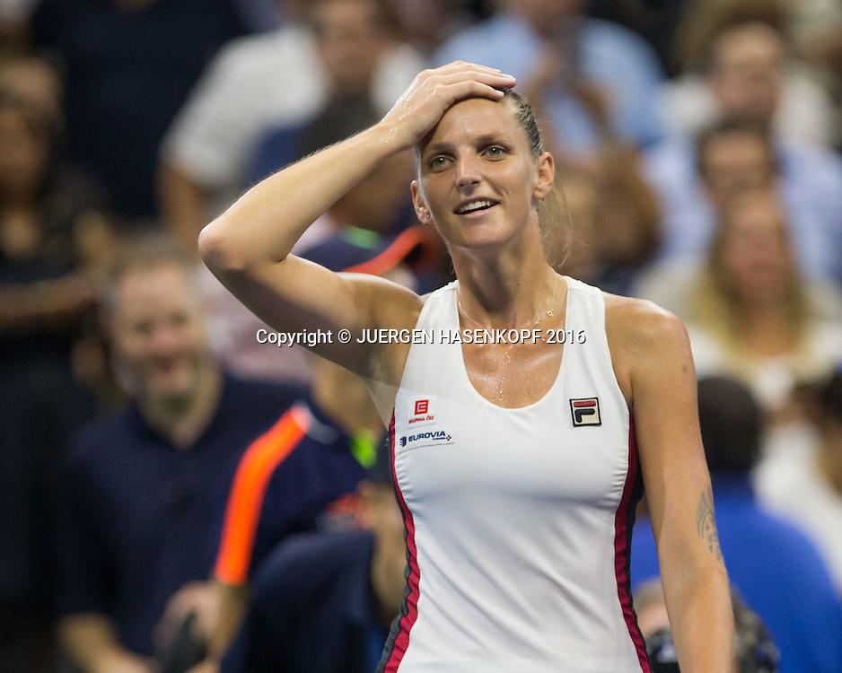 KAROLINA PLISKOVA (CZE) jubelt nach ihrem Sieg,Jubel, Emotion, Freude,<br /> <br /> <br /> Tennis - US Open 2016 - Grand Slam ITF / ATP / WTA -  USTA Billie Jean King National Tennis Center - New York - New York - USA  - 8 September 2016.