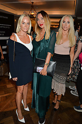 Left to right, KATHRINE FREDRIKSEN, ALEX MEYERS and CECILIE FREDRIKSEN at a the Fortnum's X Frank private view - an instore exhibition of over 60 works from Frank Cohen's collection at Fortnum & Mason, 181 Piccadilly, London on 12th September 2016.
