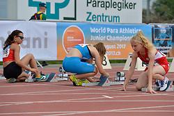 04/08/2017; Garcia Melero, Maria De Los Angeles, F12, ESP, Bertoli, Carlotta, T13, ITA, Przewozna, Kinga, POL at 2017 World Para Athletics Junior Championships, Nottwil, Switzerland
