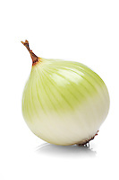 Onions over white background - close-up