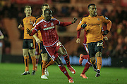 Albert Adomah (Middlesbrough) takes a shot during the Sky Bet Championship match between Middlesbrough and Wolverhampton Wanderers at the Riverside Stadium, Middlesbrough, England on 4 March 2016. Photo by Mark P Doherty.