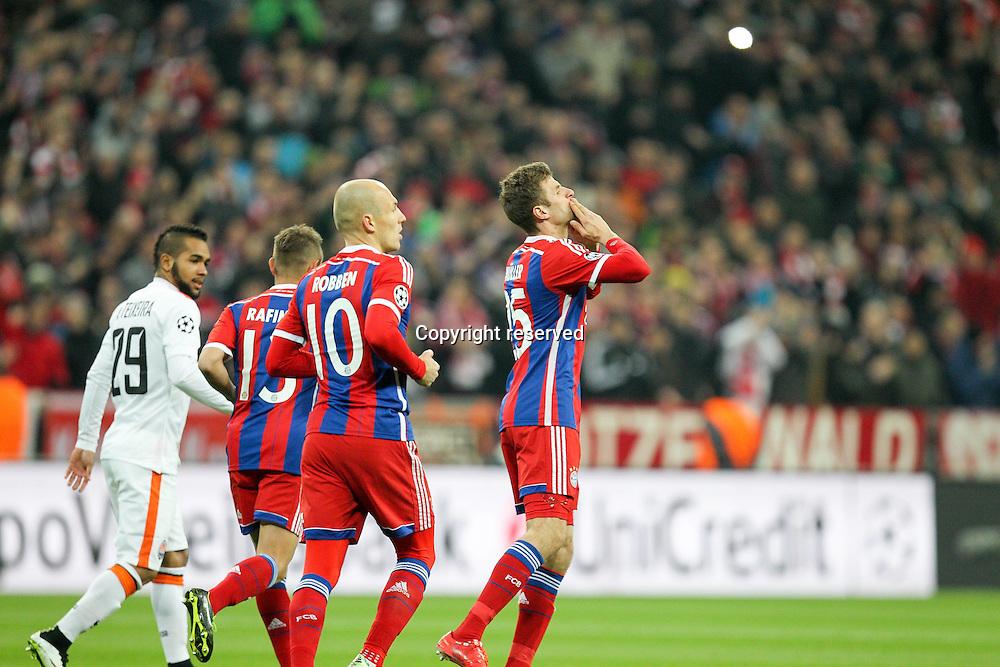 11.03.2015. Allianz Stadium, Munich, Germany. UEFA Champions League football. Bayern Munich versus Shakhtar Donetsk. Thomas Muller (FC Bayern Munchen) celebrates his goal for 1-0