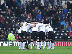 Derby County huddle together before Kick of, Derby County v Reading, FA Cup 5th Round, The Ipro Stadium, Saturday 14th Febuary 2015