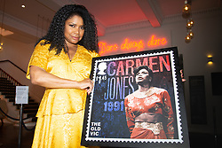 **Ebargoed untill 14 August**<br /> Actress Sharon Benson poses with a new Royal Mail stamp celebrating The Old Vic theatre. London, August 06 2018.