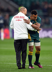 England Rugby Head Coach Eddie Jones embraces Will Genia of Australia during the pre-match warm-up - Mandatory byline: Patrick Khachfe/JMP - 07966 386802 - 18/11/2017 - RUGBY UNION - Twickenham Stadium - London, England - England v Australia - Old Mutual Wealth Series International