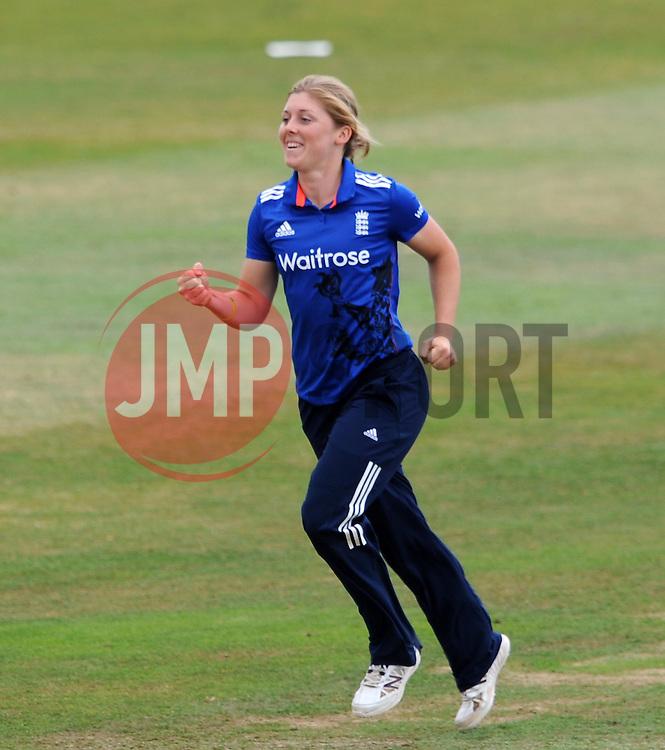 England's Heather Knight celebrates the wicket of Australia's Ellyse Perry. - Photo mandatory by-line: Harry Trump/JMP - Mobile: 07966 386802 - 21/07/15 - SPORT - CRICKET - Women's Ashes - Royal London ODI - England Women v Australia Women - The County Ground, Taunton, England.