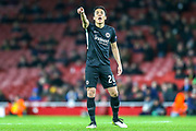 Eintracht Frankfurt midfielder Makoto Hasebe (20) pointing, directing, signalling during the Europa League match between Arsenal and Eintracht Frankfurt at the Emirates Stadium, London, England on 28 November 2019.