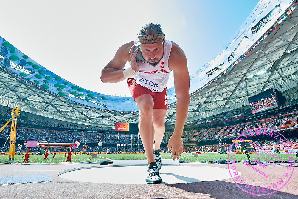 Tomasz Majewski (AZS AWF Warszawa) of Poland competes in men&rsquo;s shot put qualification during Day Second of the 15th IAAF World Athletics Championships Beijing 2015 at Bird's Nest National Stadium in Beijing, China.<br /> <br /> China, Beijing, August 23, 2015<br /> <br /> Picture also available in RAW (NEF) or TIFF format on special request.<br /> <br /> For editorial use only. Any commercial or promotional use requires permission.<br /> <br /> Adam Nurkiewicz declares that he has no rights to the image of people at the photographs of his authorship.<br /> <br /> <br /> Mandatory credit:<br /> Photo by &copy; Adam Nurkiewicz / Mediasport