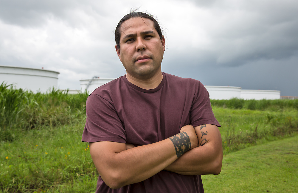 Dallas Goldtooth, Keep It In The Ground Campaign Organizer at Indigenous Environmental Network, who along with others from North Dakota and Bold Louisiana director, Cherri Foytlin met in St James Louisana, the area where the Bayou Bridge Pipeline will end if built. Dallas Goldtooth, came for the start of the L'eau Est La Vie Camp.