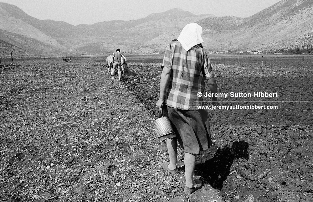 Ploughing the fields and sowing seeds, Hani Hot, northern Albania, 1992.