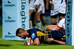 Matt Cox of Worcester Cavaliers scores a try - Mandatory by-line: Robbie Stephenson/JMP - 24/09/2018 - RUGBY - Sixways Stadium - Worcester, England - Worcester Cavaliers v Sale Jets - Premiership Rugby Shield