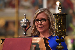 Lucy Hawking speaking at the memorial service for her father, Professor Stephen Hawking, at Westminster Abbey, London.