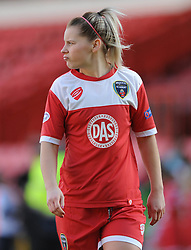 Bristol Academy's Nikki Watts cuts a dejected figure - Photo mandatory by-line: Dougie Allward/JMP - Mobile: 07966 386802 - 21/03/2015 - SPORT - Football - Bristol - Ashton Gate Stadium - Bristol Academy v FFC Frankfurt - UEFA Women's Champions League - Quarter Final - First Leg