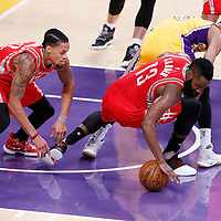 26 October 2016: Houston Rockets guard James Harden (13) vies for the loose ball with Los Angeles Lakers guard Jordan Clarkson (6) and Houston Rockets guard K.J. McDaniels (32) during the Los Angeles Lakers 120-114 victory over the Houston Rockets, at the Staples Center, Los Angeles, California, USA.