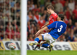 CARDIFF, WALES - Friday, September 5, 2008: Wales' Ched Evans and Azerbaijan's Sasha during the opening 2010 FIFA World Cup South Africa Qualifying Group 4 match at the Millennium Stadium. (Photo by David Rawcliffe/Propaganda)