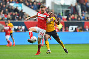 Tomas Kalas (22) of Bristol City gets back to take the ball away from Ivan Cavaleiro (7) of Wolverhampton Wanderers during the The FA Cup 5th round match between Bristol City and Wolverhampton Wanderers at Ashton Gate, Bristol, England on 17 February 2019.