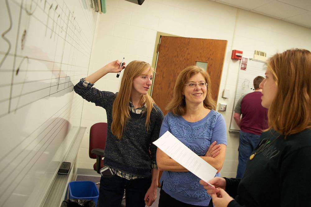 """-UWL UW-L UW-La Crosse University of Wisconsin-La Crosse; Candid; Center for the ArtsCFA; Classroom; December; Faculty; Inside; Music; Pen; Pencil; Professor; Student students; """"Whiteboard;Chalkboard""""; Woman women"""