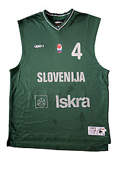 Jersey number 4 of Slovenian basketball national team when played at European Championships Turkey 2001; on March 28, 2009, in Ljubljana, Slovenia (Photo by Vid Ponikvar / Sportida)