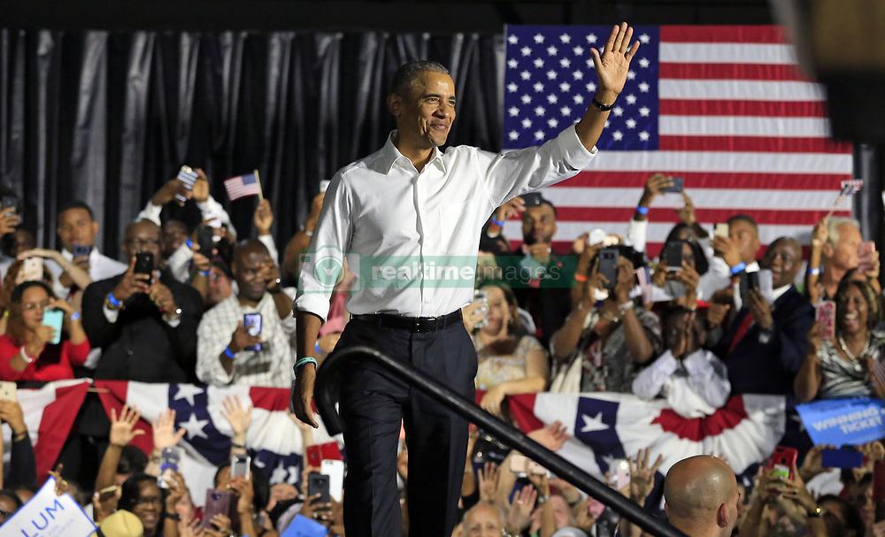 November 2, 2018 - Miami, Florida, U.S. - Former President BARACK OBAMA campaigns alongside Florida's leading Democratic candidates in Miami at Ice Palace Films Studios on Friday. (Credit Image: © Al Diaz/Miami Herald/TNS via ZUMA Wire)