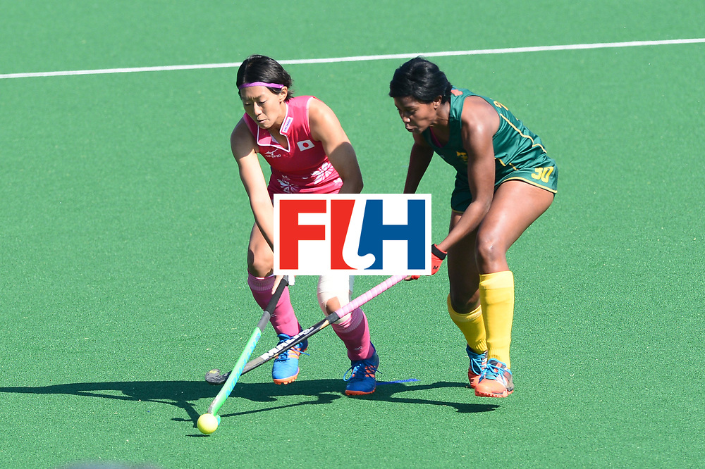 JOHANNESBURG, SOUTH AFRICA - JULY 22: Sulette Damons of South Africa tackles Kana Nomura of Japan during day 8 of the FIH Hockey World League Women's Semi Finals 5th-6th place match between Japan and South Africa at Wits University on July 22, 2017 in Johannesburg, South Africa. (Photo by Getty Images/Getty Images)