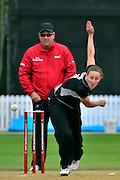 Rachael Candy bowling during the 2nd InternationaI one day cricket match between New Zealand White Ferns and England at Bert Sutcliffe Oval, Lincoln University, Christchurch, New Zealand on Saturday 3 March 2012. Photo: Richard Connelly / photosport.co.nz