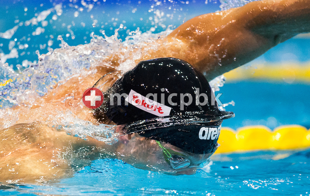 Artyom MACHEKIN of Belarus swims the final leg before finishing third in the men's 4x50m Freestyle Relay Final during the 18th LEN European Short Course Swimming Championships held at the Wingate Institute in Netanya, Israel, Wednesday, Dec. 2, 2015. (Photo by Patrick B. Kraemer / MAGICPBK)