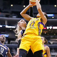 03 August 2014: Los Angeles Sparks guard/forward Armintie Herrington (22) goes to the basket against Connecticut Sun guard/forward Katie Douglas (23) during the Los Angeles Sparks 70-69 victory over the Connecticut Sun, at the Staples Center, Los Angeles, California, USA.