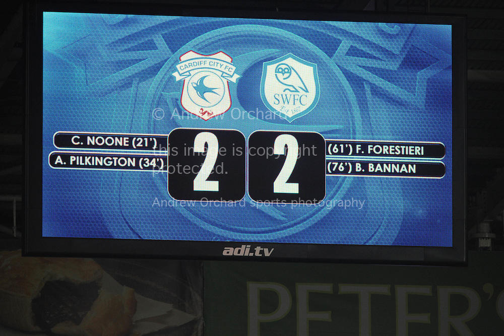 a view of the scoreboard as Cardiff city end up with a draw after taking a 2-0 lead. Skybet football league championship match, Cardiff city v Sheffield Wednesday at the Cardiff city stadium in Cardiff, South Wales on Saturday 12th December 2015.<br /> pic by Andrew Orchard, Andrew Orchard sports photography.