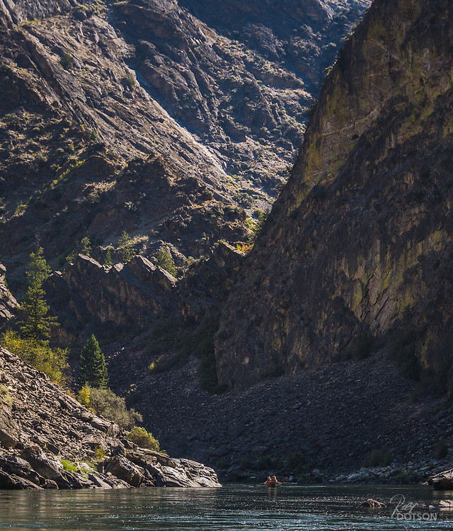 The lower canyon sections of the Middle Fork of the Salmon grow increasingly more ominous with long glides interspersed with intense rapids and narrow chutes.