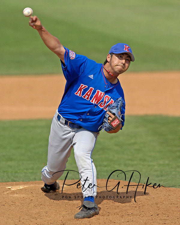 Kansas pitcher Ryotaro Hayakawa came in to pitch for the Jayhawks in the bottom of the eighth inning against Kansas State.  The Wildcats held on to beat Kansas 5-4 at Tointon Stadium in Manhattan, Kansas, April 23, 2006.
