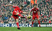 Photo: Paul Thomas.<br /> Liverpool v Everton. The Barclays Premiership. 03/02/2007.<br /> <br /> Steven Gerrard of Liverpool shoots.