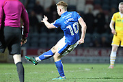 GOAL Callum Camps fires Rochdale 3-2 ahead during the EFL Sky Bet League 1 match between Rochdale and Millwall at Spotland, Rochdale, England on 21 March 2017. Photo by Daniel Youngs.