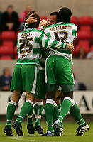 Fotball<br /> England 2005/2006<br /> Foto: SBI/Digitalsport<br /> NORWAY ONLY<br /> <br /> Swindon v Yeovil<br /> Coca Cola League 1.<br /> 27/08/2005.<br /> <br /> Yeovil's Paolo Bastianini scores the opening goal and celebrates with his team mates.