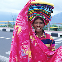 Bali, Penolokan Village, Batur Overlook, woman selling fabric
