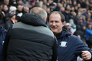Simon Grayson and Neil Redfearn  during the Sky Bet Championship match between Preston North End and Rotherham United at Deepdale, Preston, England on 2 January 2016. Photo by Pete Burns.